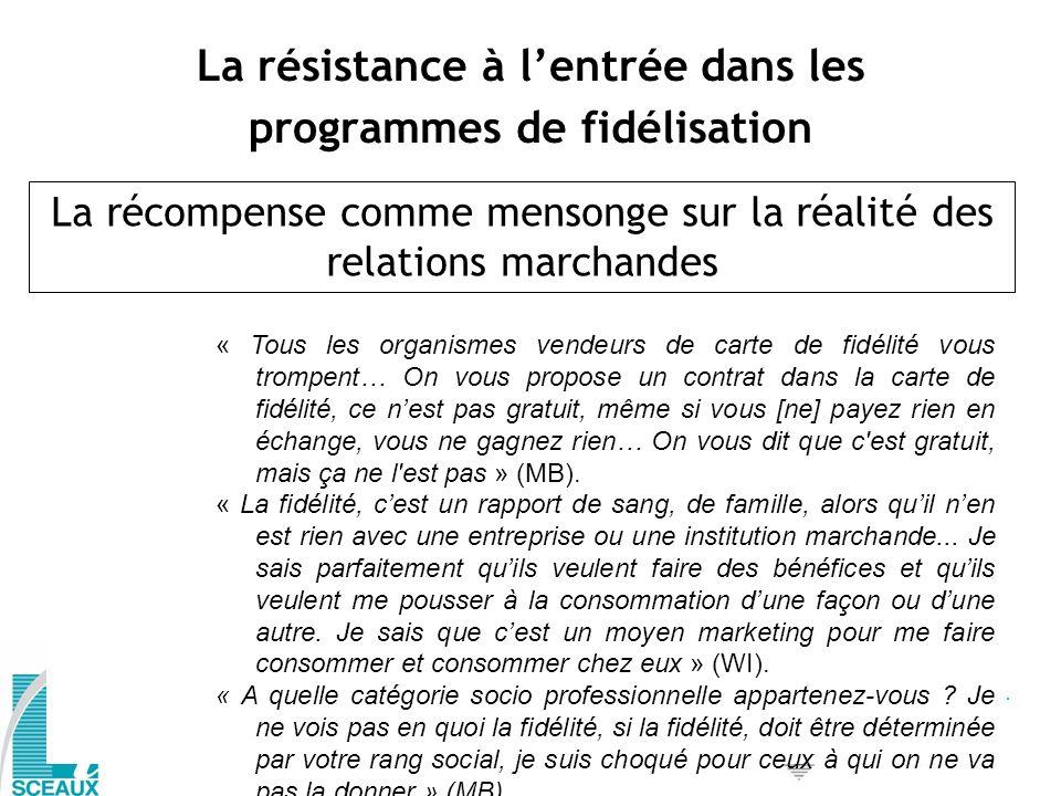 La résistance à l'entrée dans les programmes de fidélisation