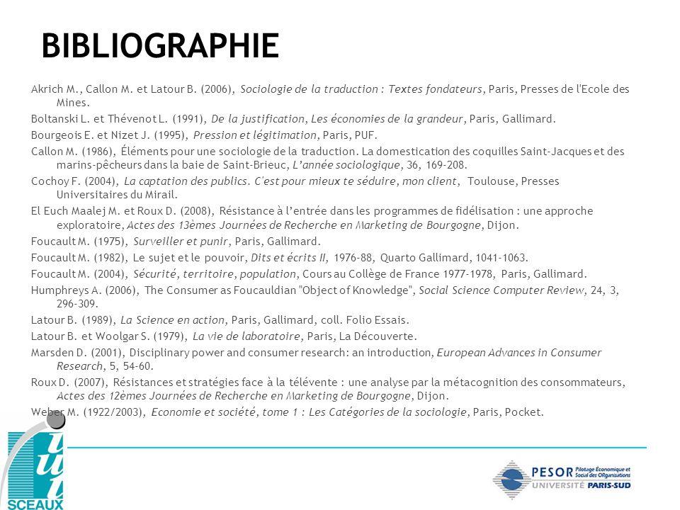 BIBLIOGRAPHIE Akrich M., Callon M. et Latour B. (2006), Sociologie de la traduction : Textes fondateurs, Paris, Presses de l Ecole des Mines.