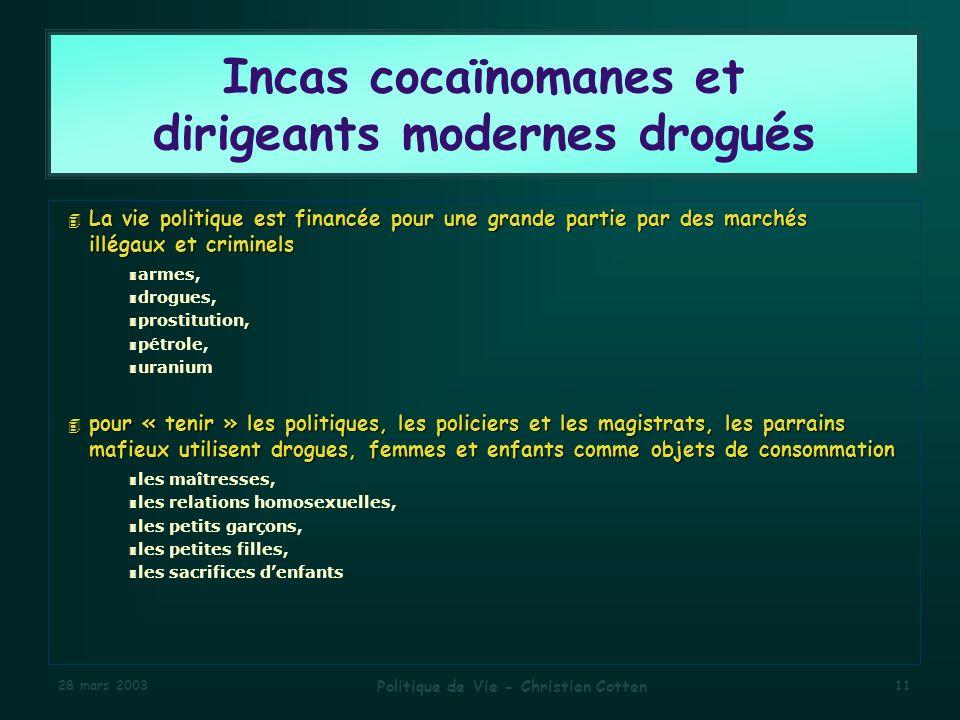 Incas cocaïnomanes et dirigeants modernes drogués