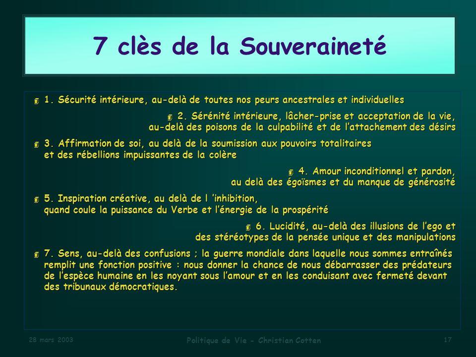 7 clès de la Souveraineté