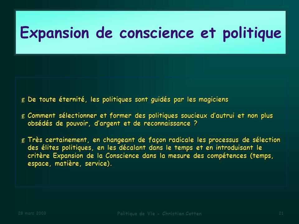 Expansion de conscience et politique