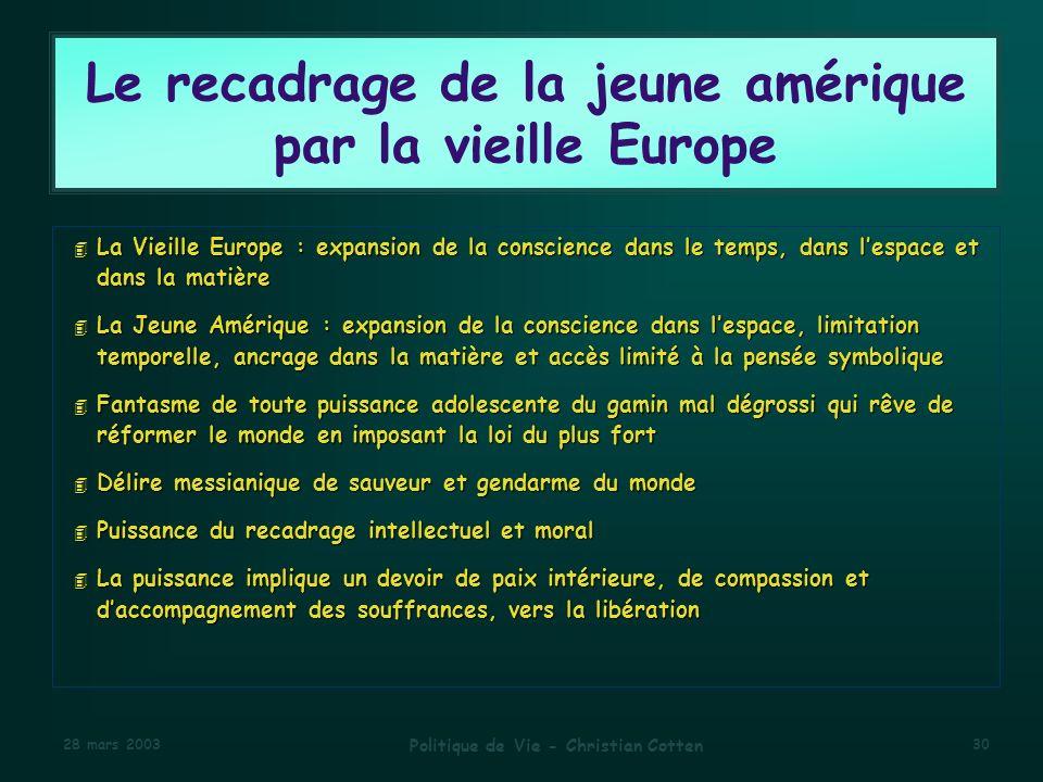 Le recadrage de la jeune amérique par la vieille Europe