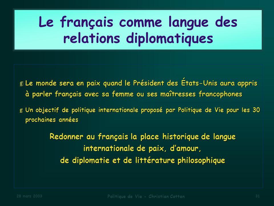 Le français comme langue des relations diplomatiques