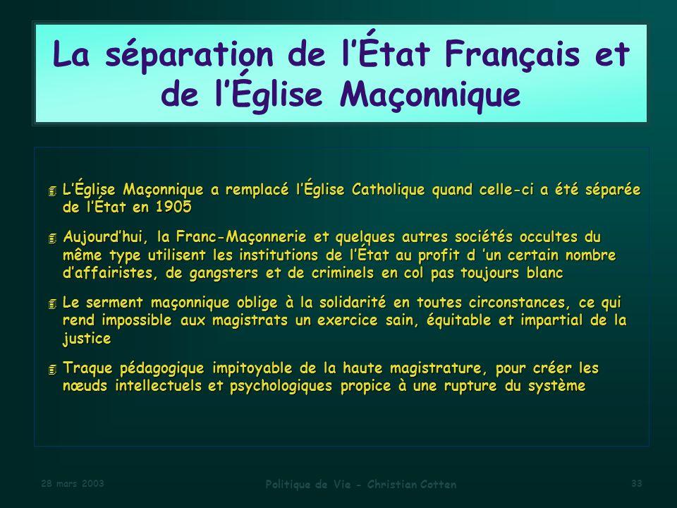 La séparation de l'État Français et de l'Église Maçonnique
