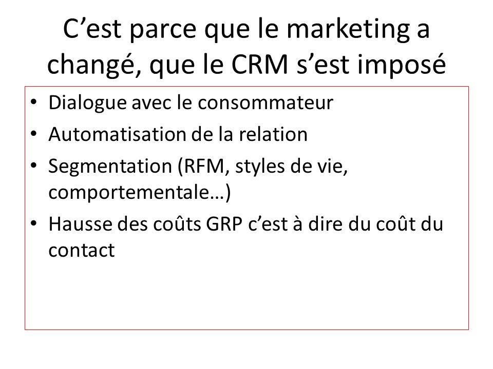 C'est parce que le marketing a changé, que le CRM s'est imposé