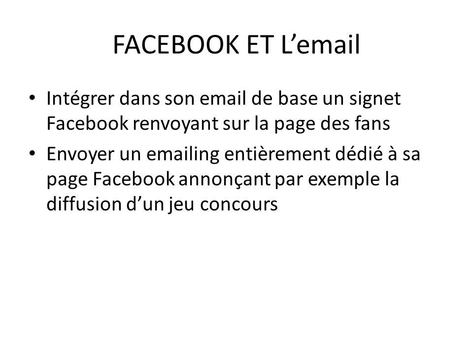 FACEBOOK ET L'email Intégrer dans son email de base un signet Facebook renvoyant sur la page des fans.