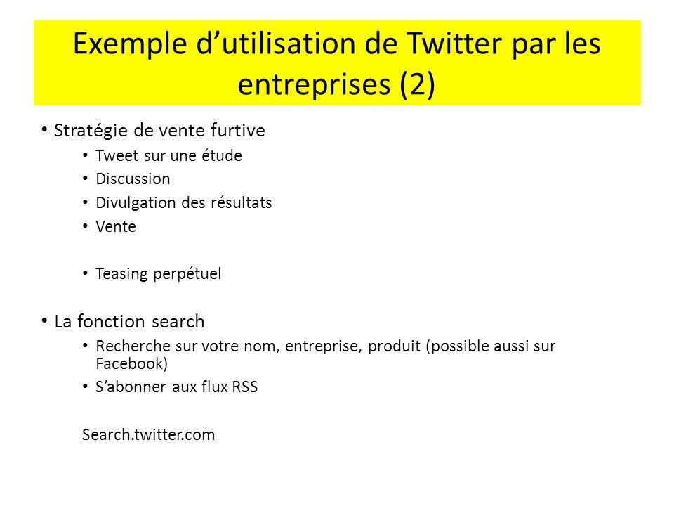 Exemple d'utilisation de Twitter par les entreprises (2)