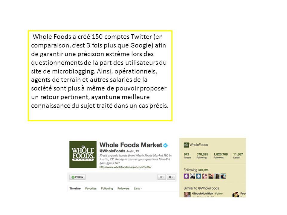 Whole Foods a créé 150 comptes Twitter (en comparaison, c'est 3 fois plus que Google) afin de garantir une précision extrême lors des questionnements de la part des utilisateurs du site de microblogging.
