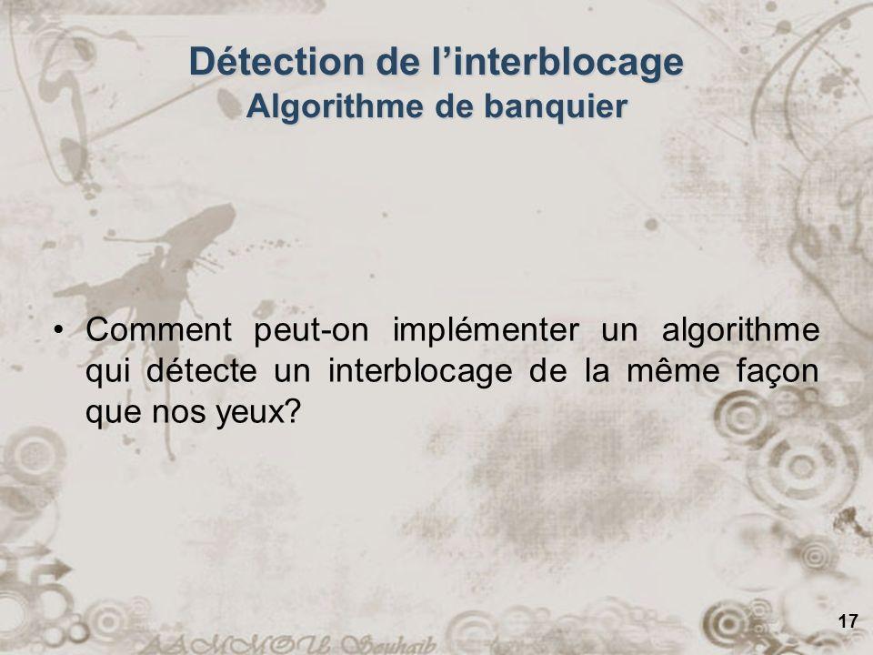 Détection de l'interblocage Algorithme de banquier