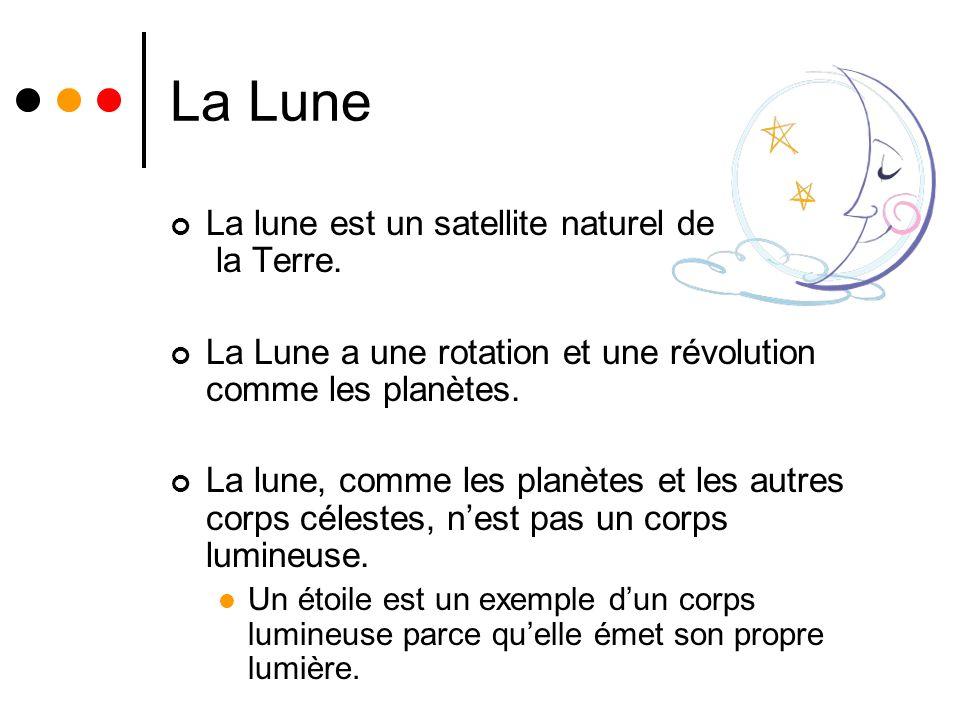 La Lune La lune est un satellite naturel de la Terre.
