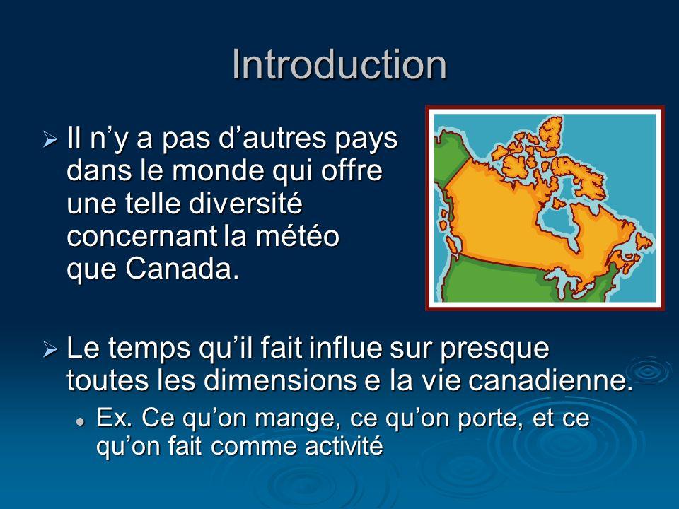 Introduction Il n'y a pas d'autres pays dans le monde qui offre une telle diversité concernant la météo que Canada.