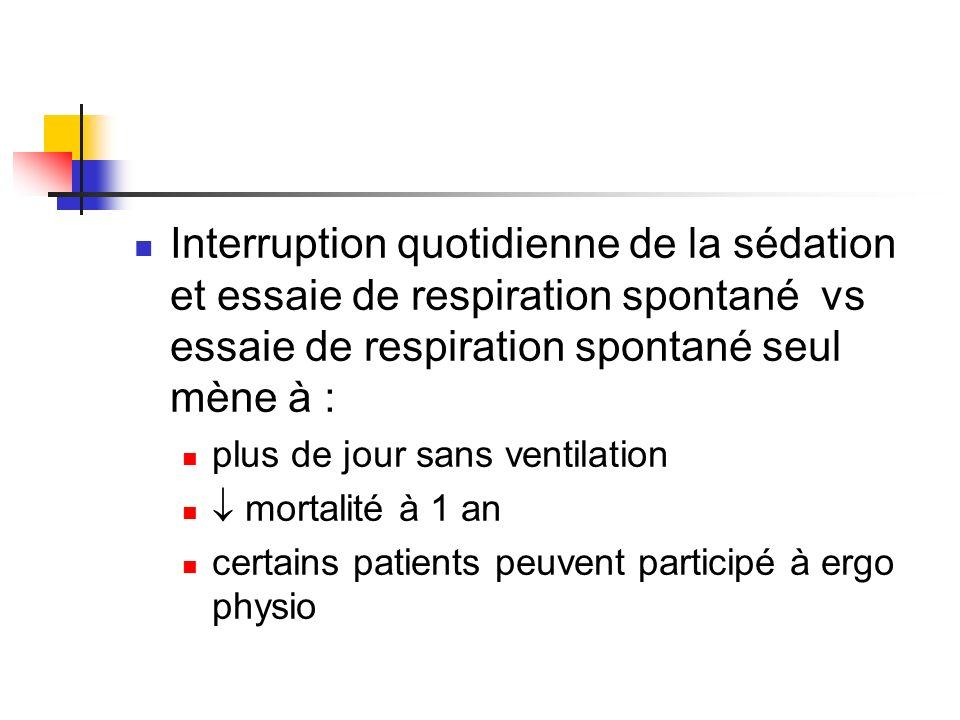 Interruption quotidienne de la sédation et essaie de respiration spontané vs essaie de respiration spontané seul mène à :