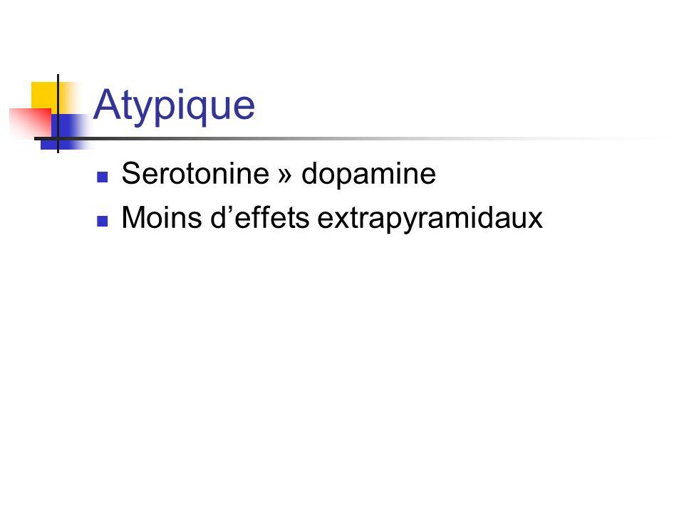 Atypique Serotonine » dopamine Moins d'effets extrapyramidaux
