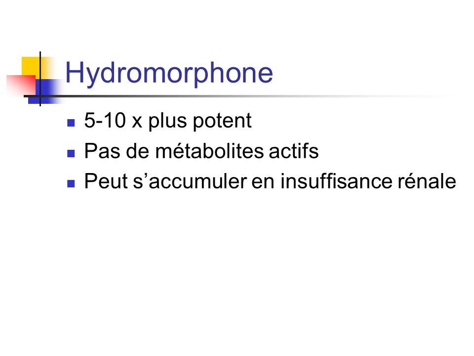 Hydromorphone 5-10 x plus potent Pas de métabolites actifs