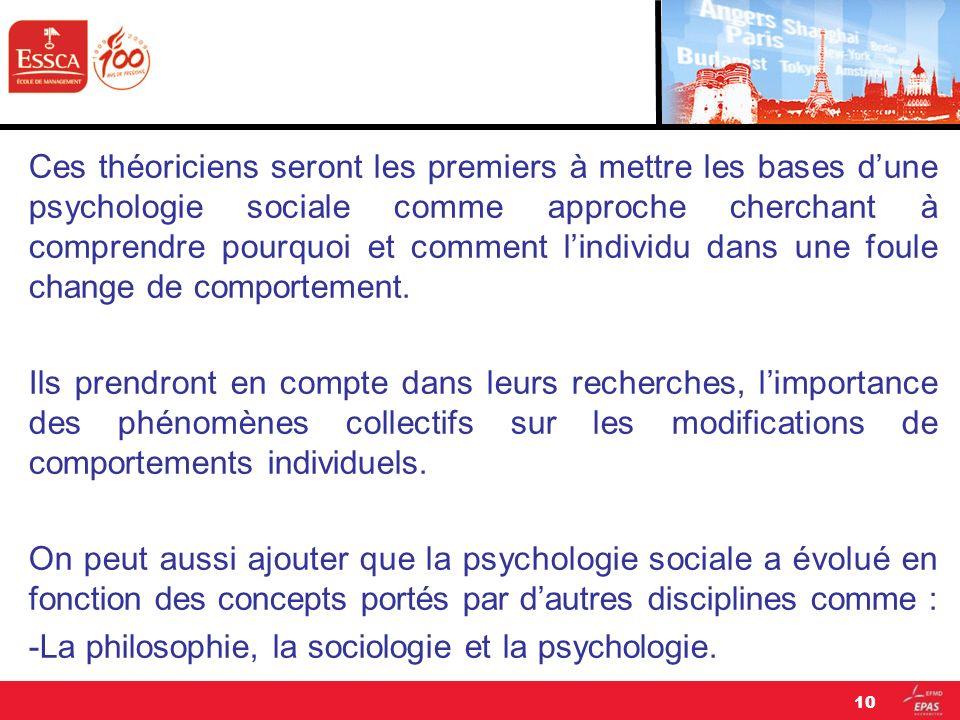Ces théoriciens seront les premiers à mettre les bases d'une psychologie sociale comme approche cherchant à comprendre pourquoi et comment l'individu dans une foule change de comportement.
