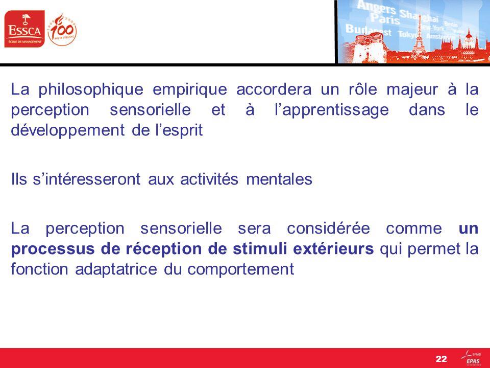 La philosophique empirique accordera un rôle majeur à la perception sensorielle et à l'apprentissage dans le développement de l'esprit