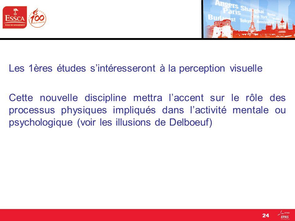 Les 1ères études s'intéresseront à la perception visuelle