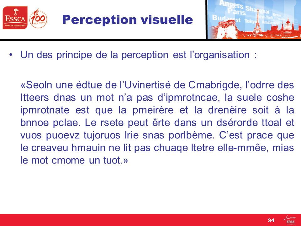 Perception visuelle Un des principe de la perception est l'organisation :