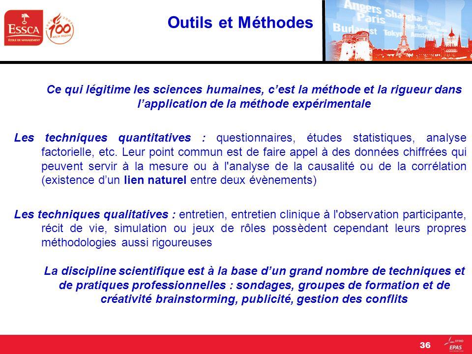 Outils et Méthodes Ce qui légitime les sciences humaines, c'est la méthode et la rigueur dans l'application de la méthode expérimentale.