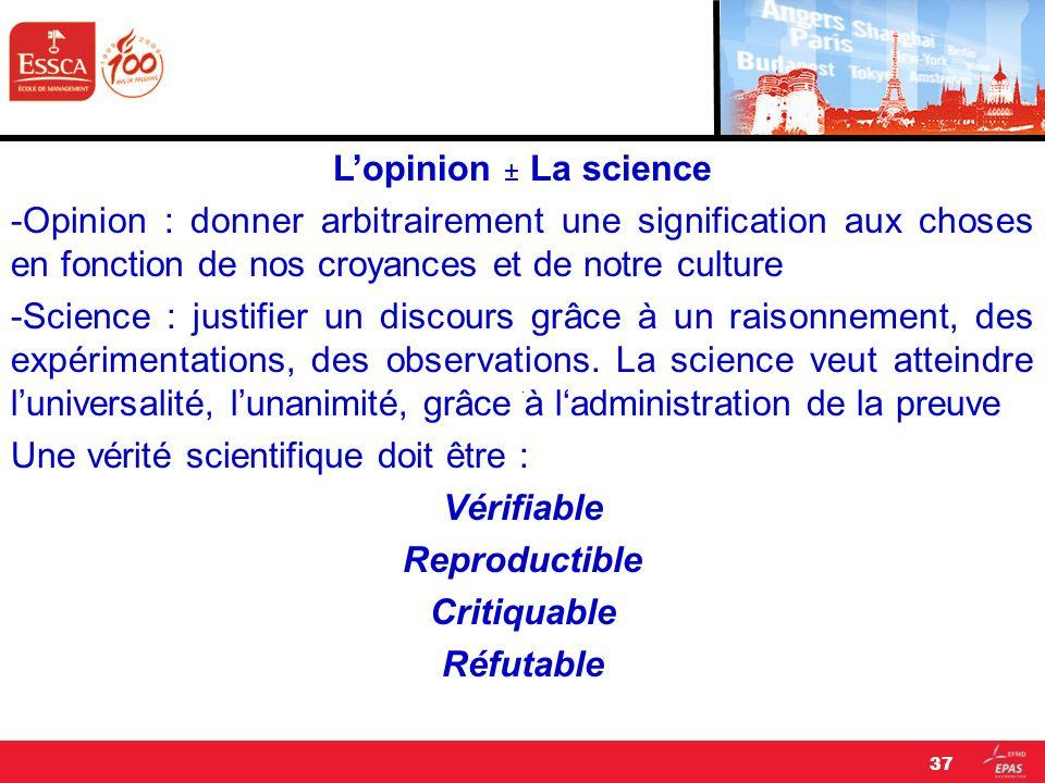 L'opinion ± La science -Opinion : donner arbitrairement une signification aux choses en fonction de nos croyances et de notre culture.