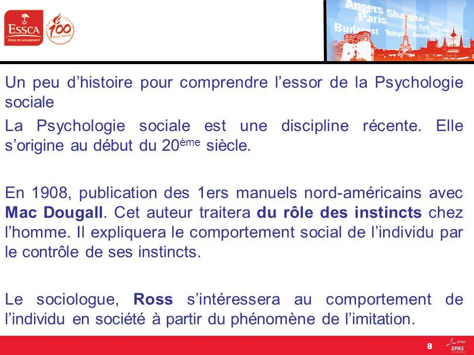 Un peu d'histoire pour comprendre l'essor de la Psychologie sociale La Psychologie sociale est une discipline récente.