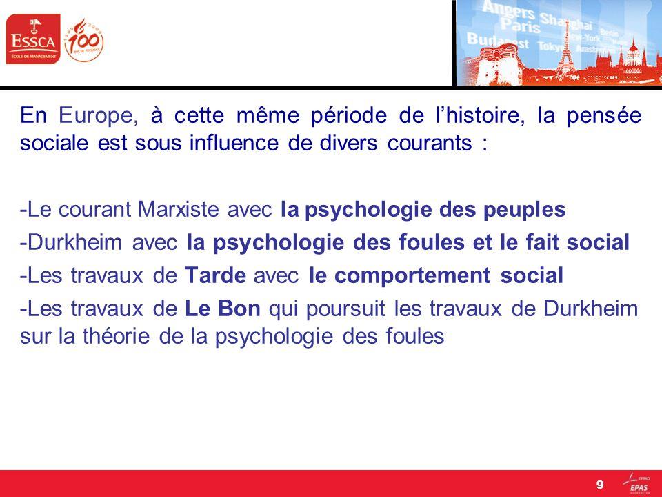 En Europe, à cette même période de l'histoire, la pensée sociale est sous influence de divers courants :