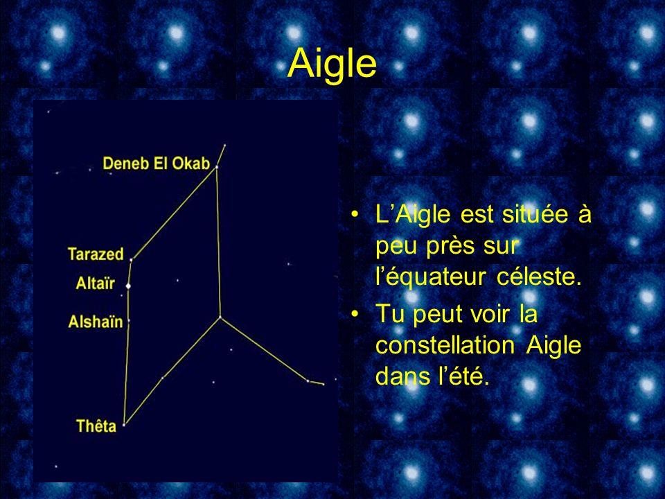 Aigle L'Aigle est située à peu près sur l'équateur céleste.