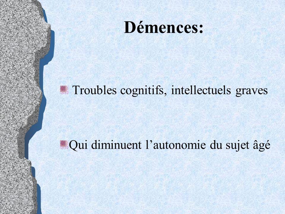 Démences: Troubles cognitifs, intellectuels graves