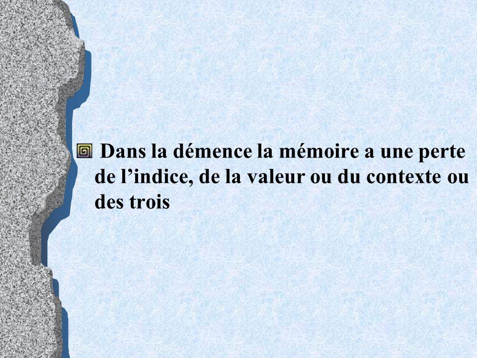 Dans la démence la mémoire a une perte de l'indice, de la valeur ou du contexte ou des trois