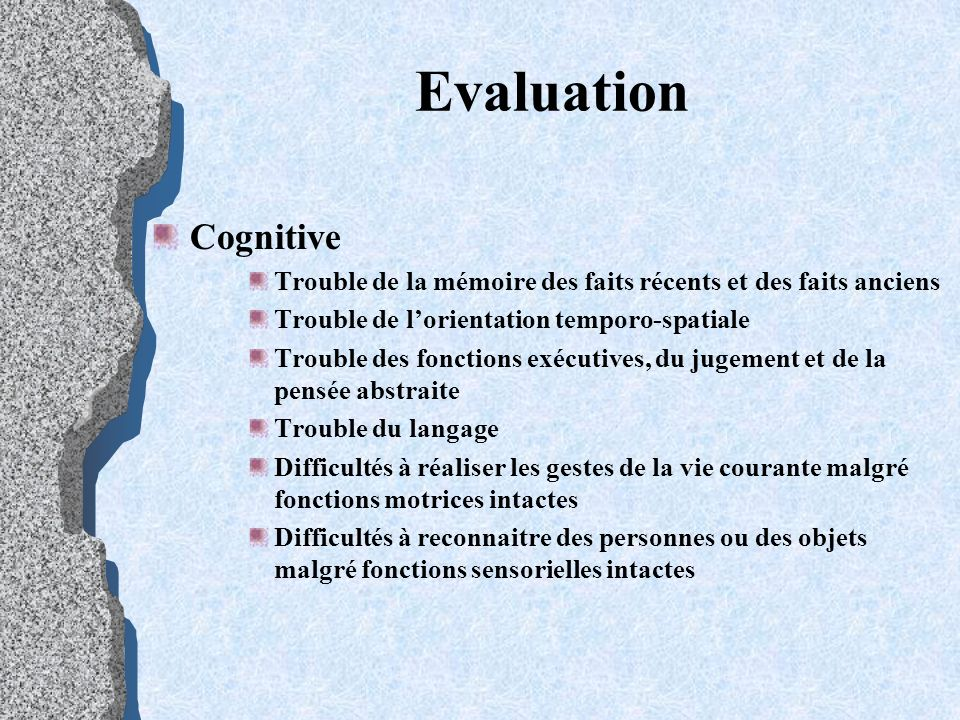 Evaluation Cognitive. Trouble de la mémoire des faits récents et des faits anciens. Trouble de l'orientation temporo-spatiale.