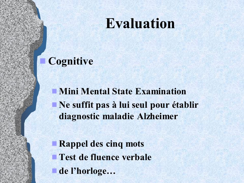 Evaluation Cognitive Mini Mental State Examination