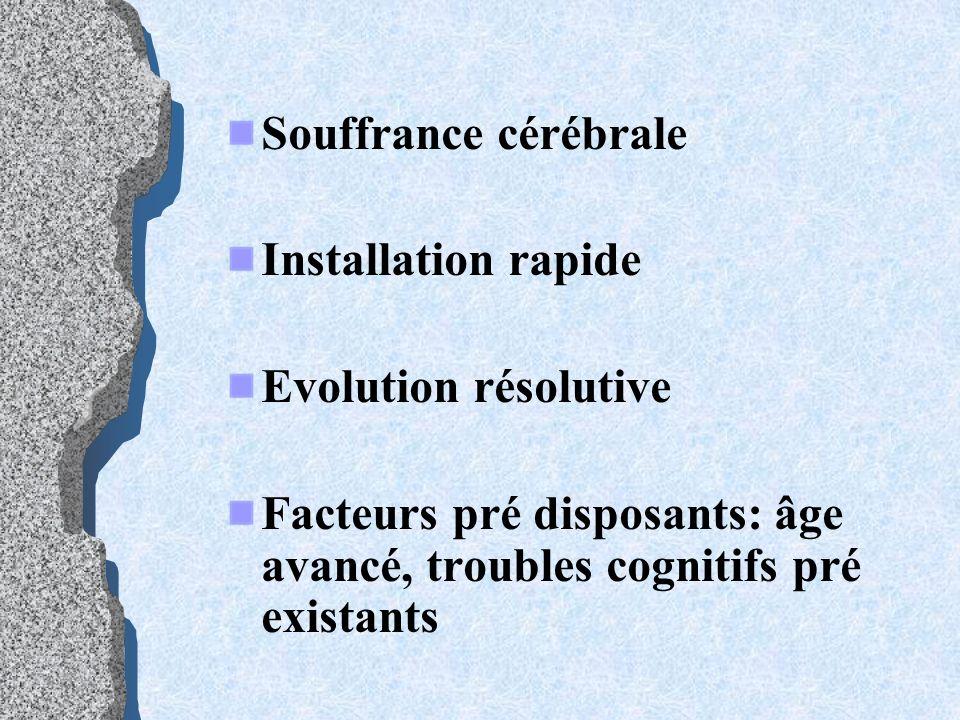 Souffrance cérébrale Installation rapide. Evolution résolutive.