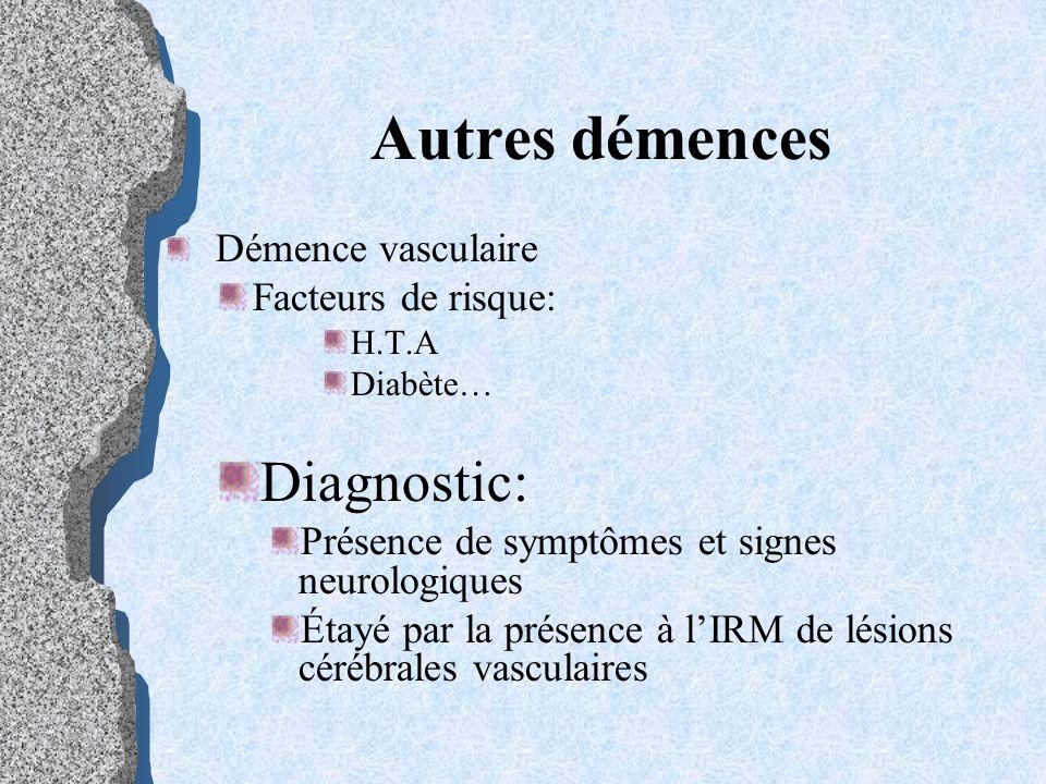 Autres démences Diagnostic: Facteurs de risque: