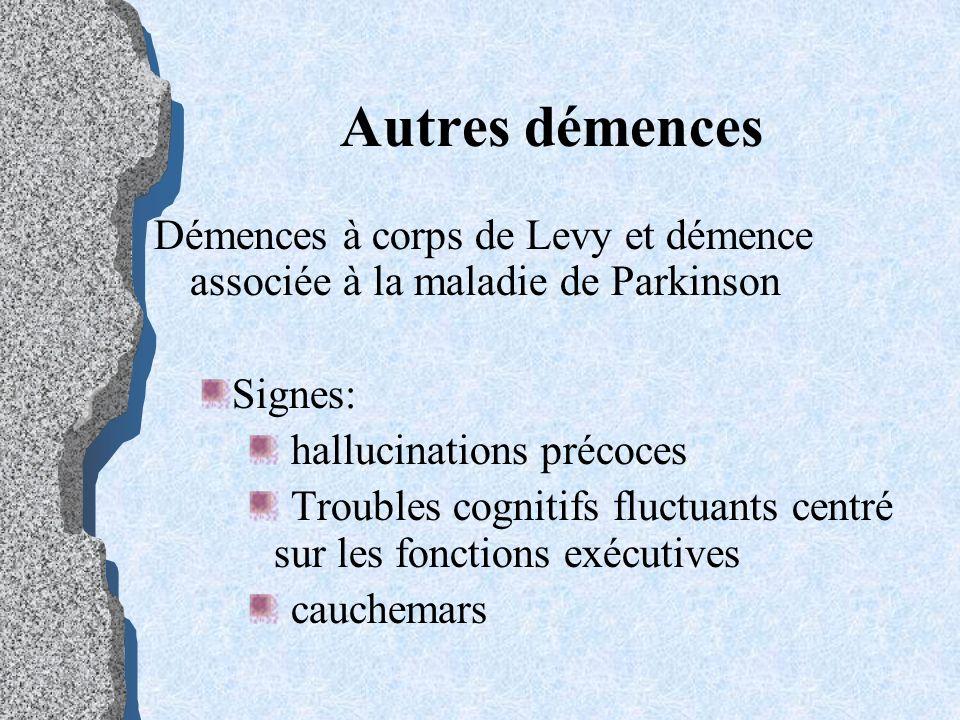 Autres démences Démences à corps de Levy et démence associée à la maladie de Parkinson. Signes: hallucinations précoces.