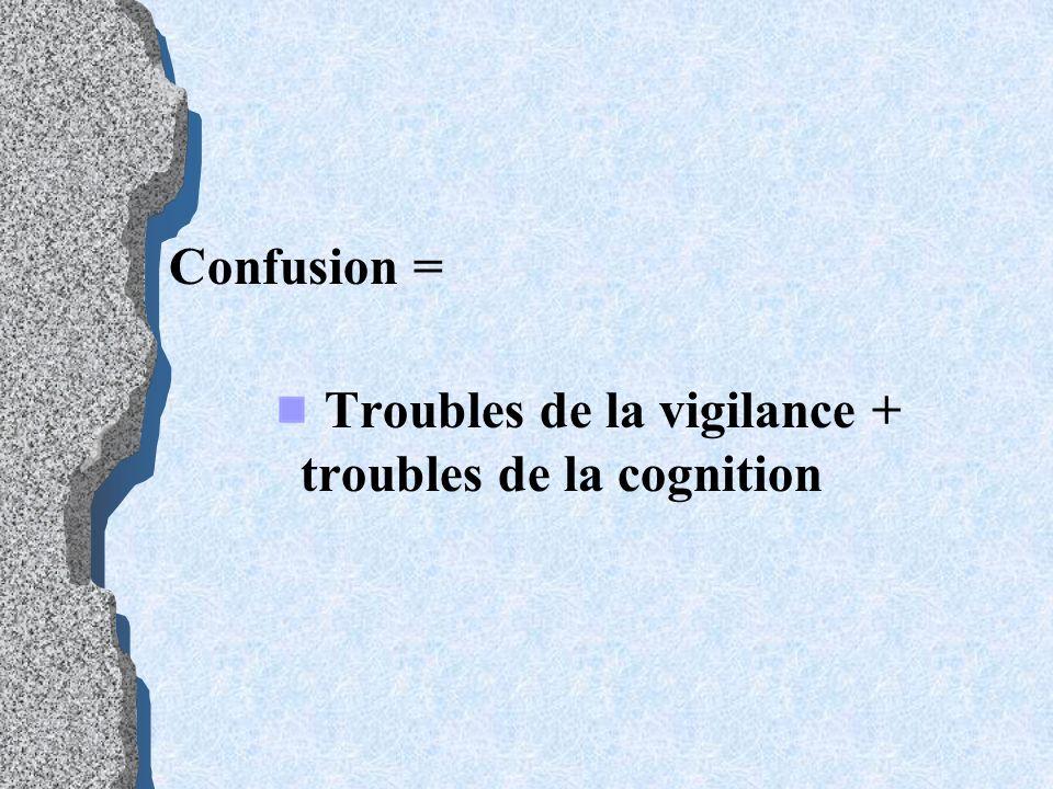 Confusion = Troubles de la vigilance + troubles de la cognition