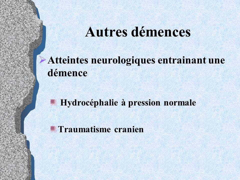 Autres démences Atteintes neurologiques entrainant une démence