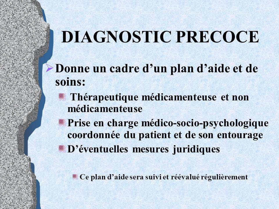DIAGNOSTIC PRECOCE Donne un cadre d'un plan d'aide et de soins: