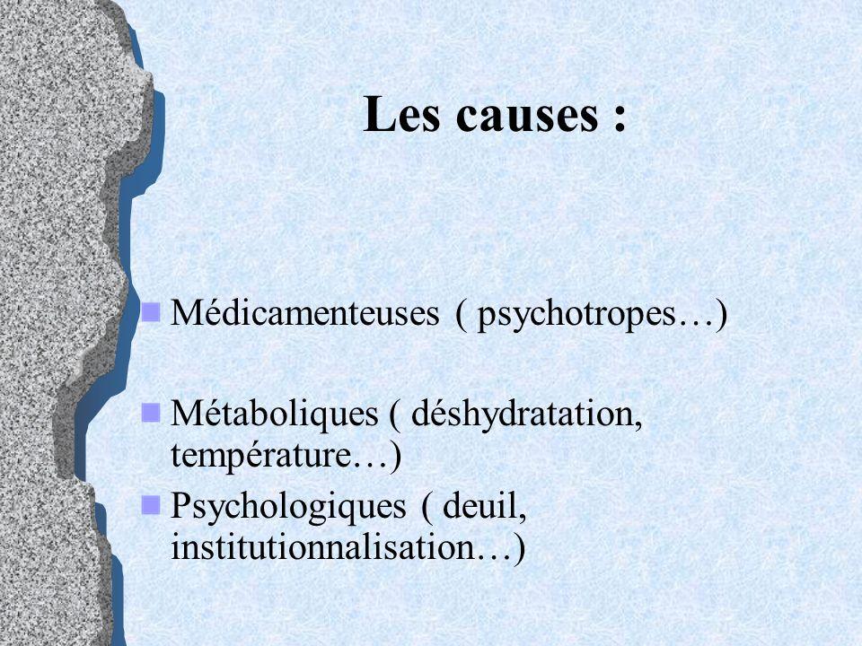 Les causes : Médicamenteuses ( psychotropes…)