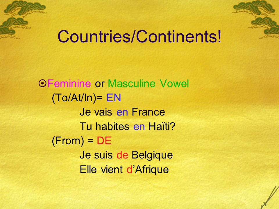 Countries/Continents!