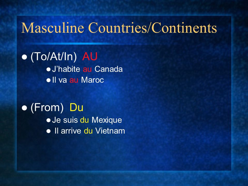 Masculine Countries/Continents
