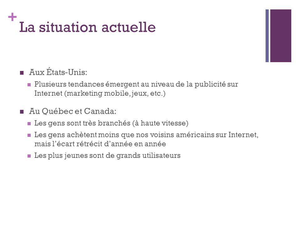 La situation actuelle Aux États-Unis: Au Québec et Canada: