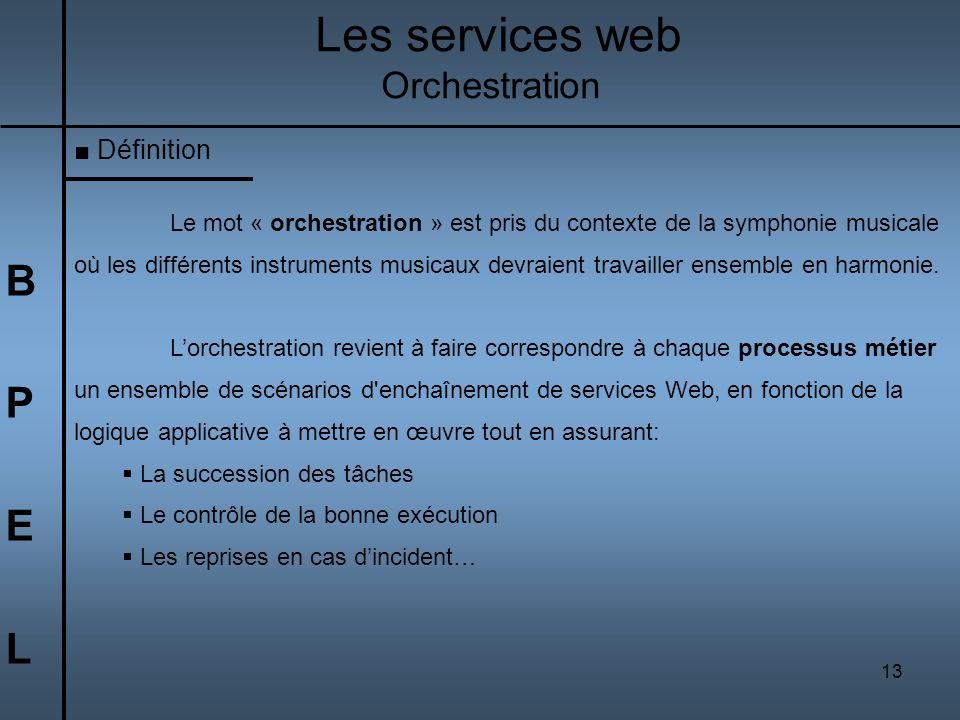 Les services web B P E L Orchestration Définition