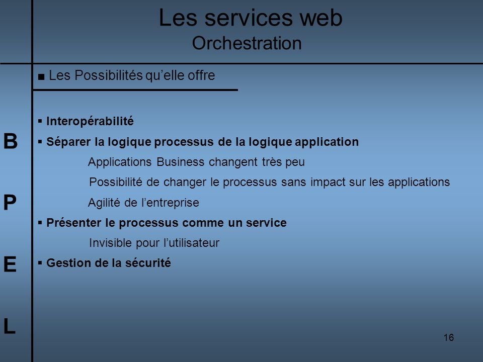 Les services web B P E L Orchestration Les Possibilités qu'elle offre