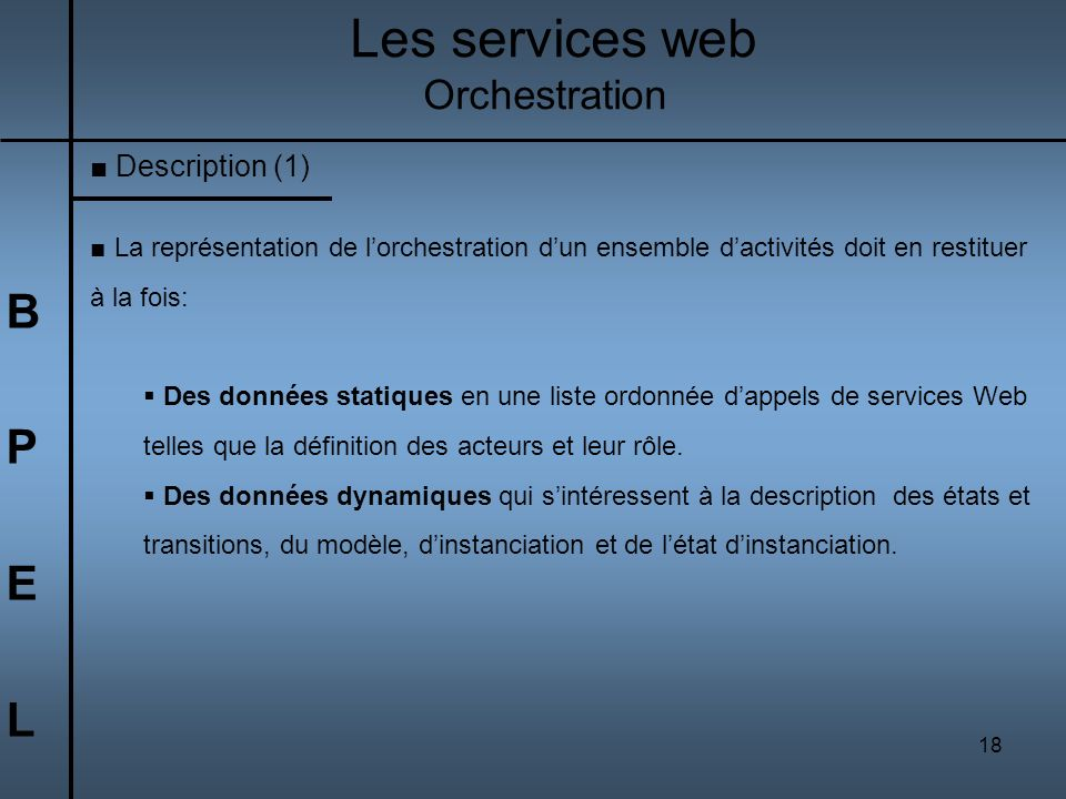 Les services web B P E L Orchestration Description (1)