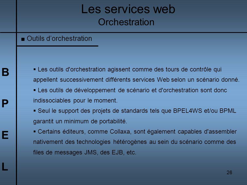 Les services web B P E L Orchestration Outils d'orchestration