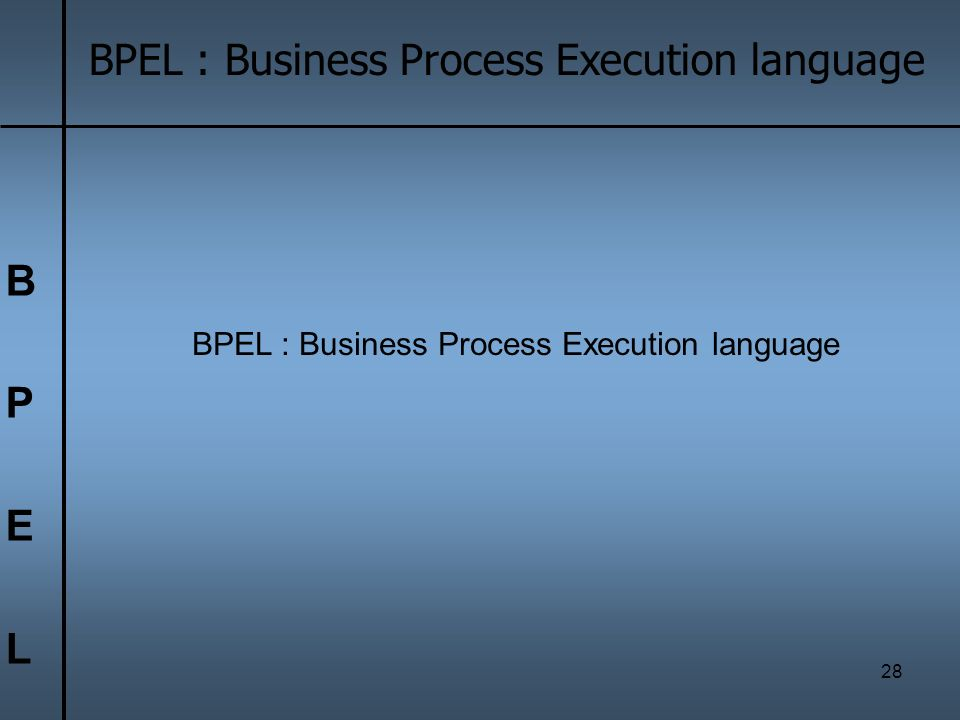 B P E L BPEL : Business Process Execution language