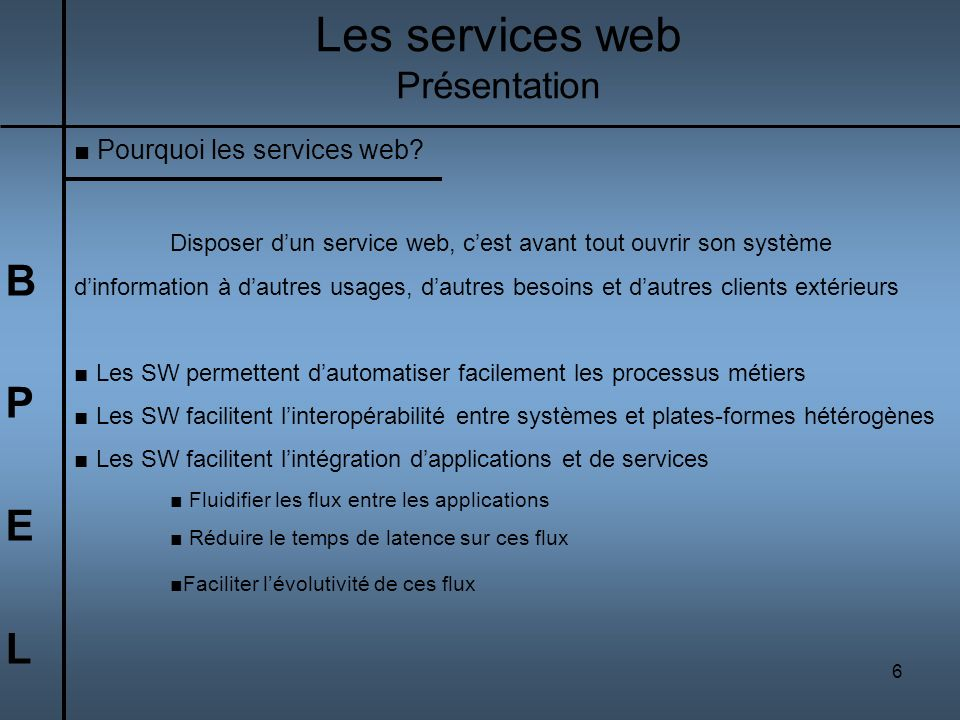 Les services web B P E L Présentation Pourquoi les services web