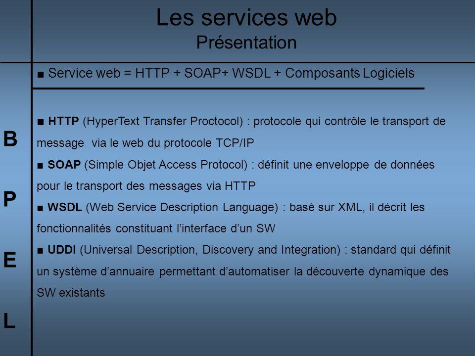Les services web B P E L Présentation