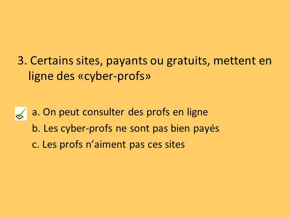 3. Certains sites, payants ou gratuits, mettent en ligne des «cyber-profs»