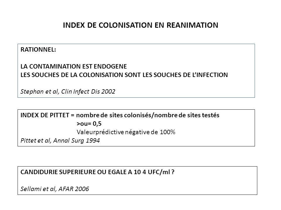 INDEX DE COLONISATION EN REANIMATION